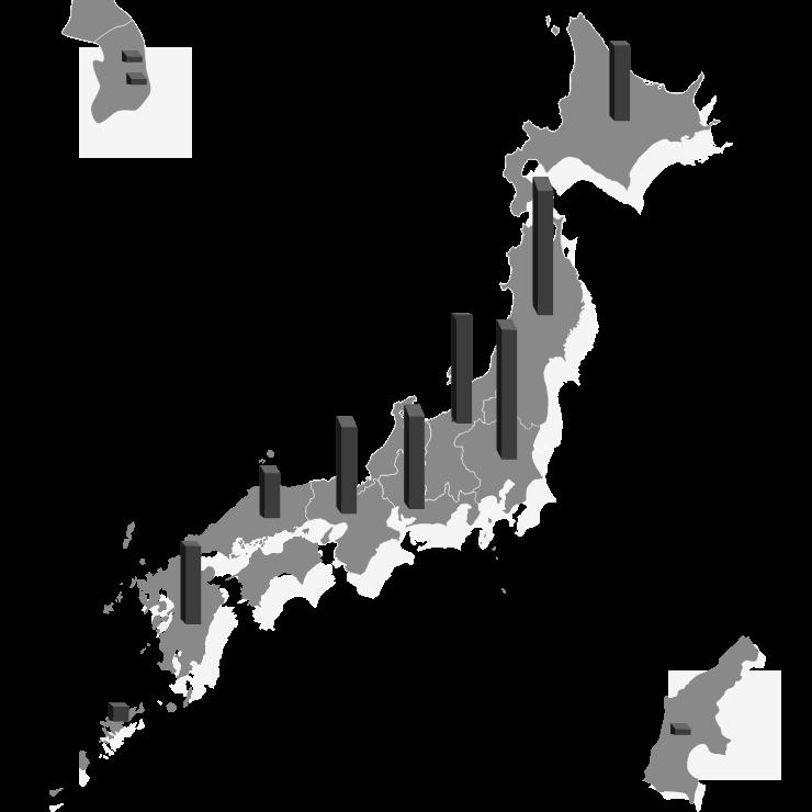 拠点数グラフ入り日本地図